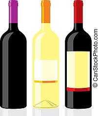 flessen, classieke, wijntje, vorm