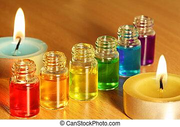flessen, gekleurde, kaarsjes, zes, twee, aroma, oliën, tafel, roeien