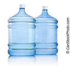 flessen, groot, twee, vrijstaand, water, achtergrond, witte