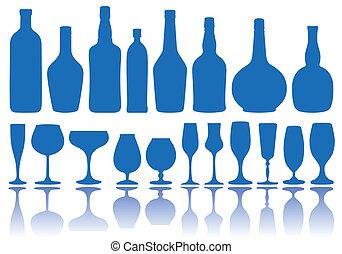 flessen, vector, bril