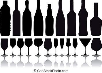 flessen, vector, bril, wijntje