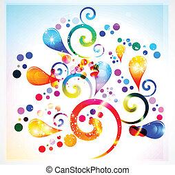 floral, abstract, kleurrijke