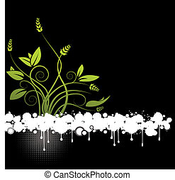 floral, abstract, vector