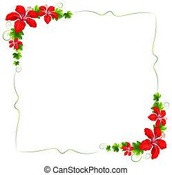floral, bloemen, grens, rood