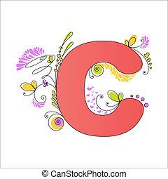 floral, c, alphabet., kleurrijke, brief