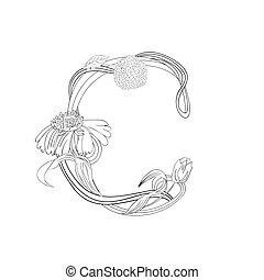 floral, c, lettertype, brief