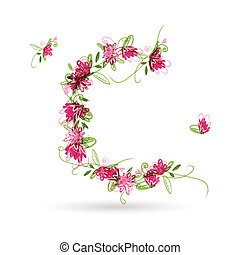 floral, c, ontwerp, jouw, brief