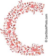 floral, c, romantische, brief