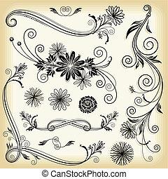 floral, decorative elements
