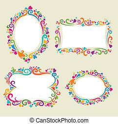 floral, frame, set