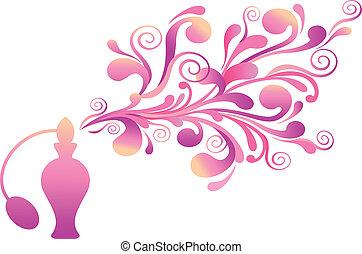 floral, geur, fles, parfum