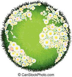 floral, globe, concept, bloem