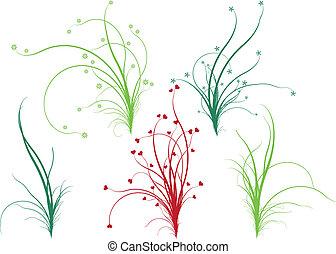 floral, gras, vector