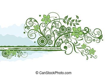 floral, groene, grens, element