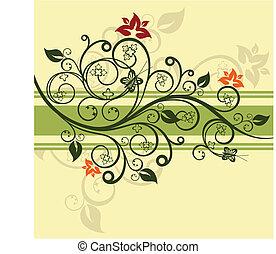 floral, groene, vector, ontwerp, illustratie
