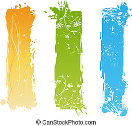 floral, grungy, banieren, communie, verticaal