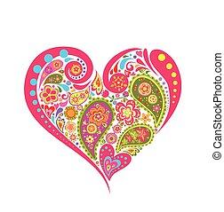 floral, hart gedaante, paisley