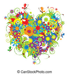 floral, hart, liefde, vorm