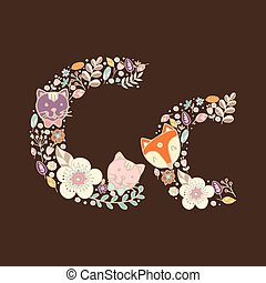 floral, helder, c., brief, element