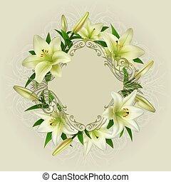 floral, kaart, mal
