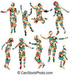 floral model, gemaakt, silhouettes, kinderen
