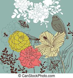 floral, mooi en gracieus, kaart