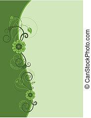 floral ontwerpen, 2, grens, groene