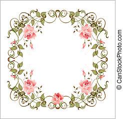 floral, ouderwetse , frame