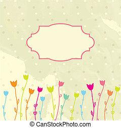 floral, ouderwetse , frame, vector, achtergrond