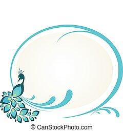 floral, pauw, frame, illustratie, zittende