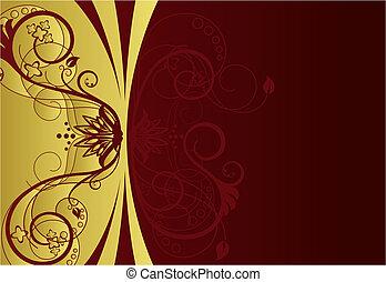floral rand, ontwerp, rood, goud