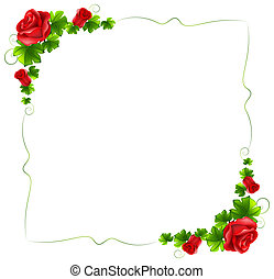 floral, rozen, grens, rood