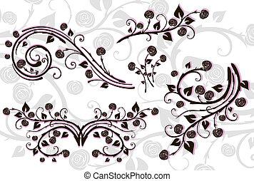 floral, set, communie, design.