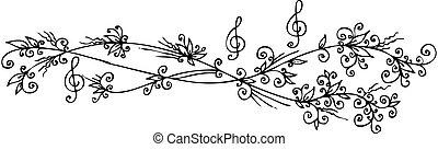 floral, vignet, muzikalisch, cccii