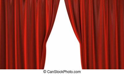 fluweel, theater, opening, gordijnen, rood