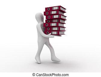 folders, 3d, man