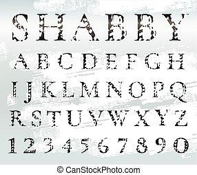 font., black , numbers., armoedig, alphabet., brieven, grunge, textured