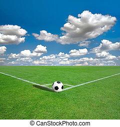 football veld, tekens, hoek, witte , (soccer)