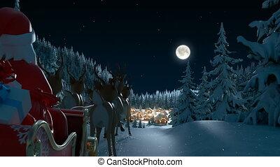 forest., animatie, komt aan, hd, kerstman, volle, 3d, claus, mooi, kerstmis, dorp, vrolijk