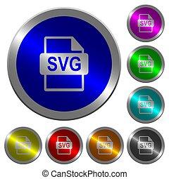 formaat, kleur, svg, knopen, bestand, coin-like, lichtgevend, ronde