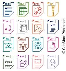 formaat, set, bestand, iconen