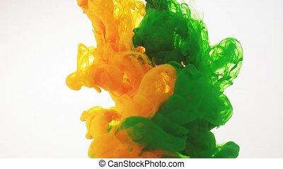 format., acryl, wolken, vorm., witte , ooit, groene, abstract, verhuizing, water, oplossen, hd, swirling, grit, water., inkt, sporen, achtergrond., kleurrijke, het veranderen, 60fps, gele verf