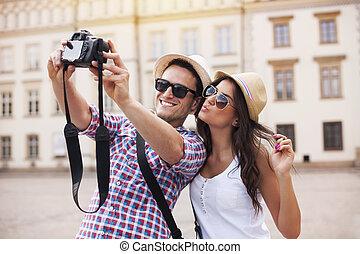 foto, boeiend, vrolijke , zich, toeristen
