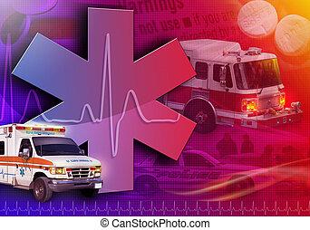 foto, medisch, redding, abstract, ambulance