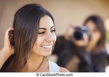 fotograaf, jonge, hardloop, volwassene, vrouwlijk, gemengd, model, maniertjes