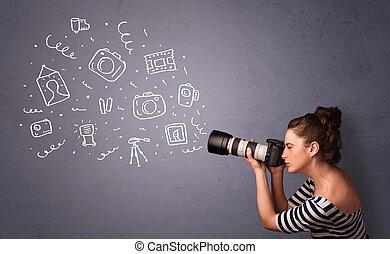 fotograaf, meisje, schietende , fotografie, iconen