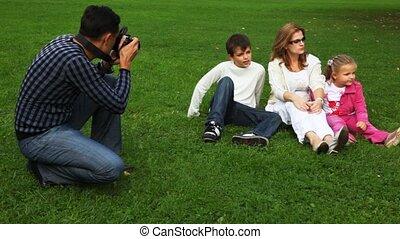 foto's, dochter, gezin, park, vader, zoon, akker, moeder, zit