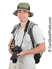 fototoestel, jonge, toerist
