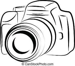 fototoestel, omtrek, tekening