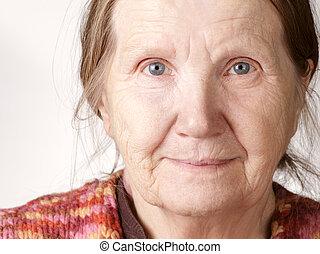 fototoestel, oude vrouw, het glimlachen